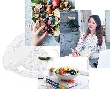 Collage of dietician in her kitchen clinic